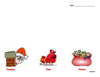 Christmas Santa Sorting Activity with Past Present Future Verbs