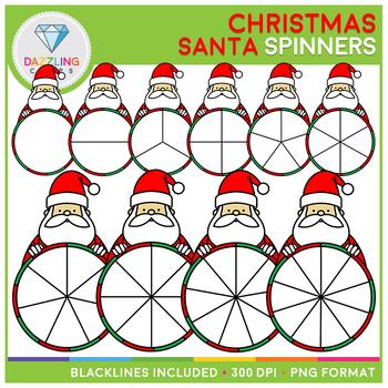 Christmas Santa Spinners Clip Art Set II