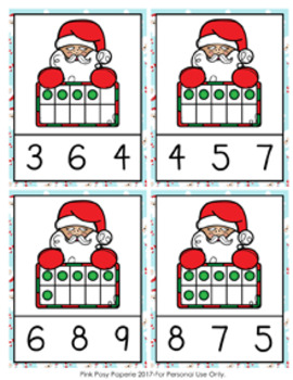 Christmas Santa Ten Frames Count and Clip Cards Numbers 0-10