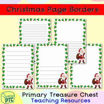 Christmas Page Border.Christmas Santa Themed Page Border Writing Frames