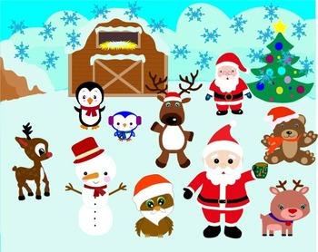 Christmas, Santa, frozen clipart, Bambi Clip Art Santa, penguin -010-