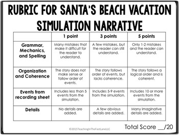 Christmas Santa's Beach Vacation Dice Simulation with Writing Connection