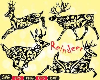 Christmas Santa's Reindeer deer wild Merry Ruldoph SVG snow ornament Tree -385s