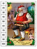 Christmas Santa skip counting by 10's to 100 puzzle kindergarten