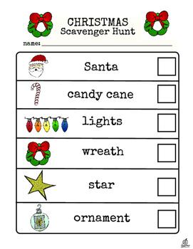 Christmas Literacy Center: Christmas Scavenger Hunt