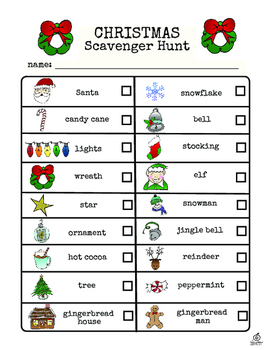Christmas Scavenger Hunt.Christmas Literacy Center Christmas Scavenger Hunt