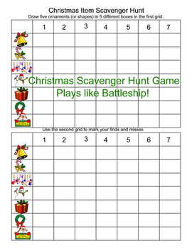 Christmas Scavenger Hunt Game Play As you would Battleship
