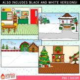 Christmas Scenes Backgrounds Clip Art