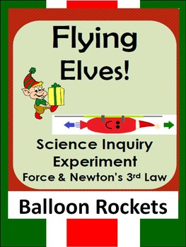Christmas Science Inquiry STEM force experiment-Newton's 3rd law-balloon rockets