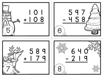 Christmas Scoot or Task Cards Addition and Subtraction Within 1000 (2.NBT.B.7)