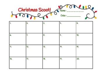 Christmas Scoot Recording Sheet 1-20