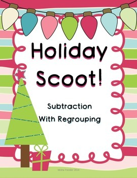 Christmas Scoot Subtraction with Regrouping