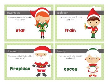 Christmas Scrabble Word Addition Task Cards