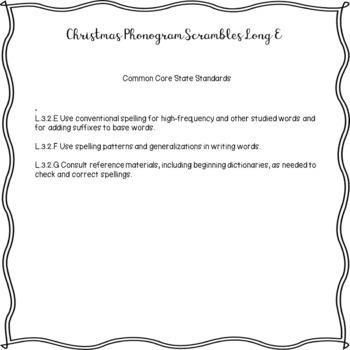 Christmas Scrambles Long E Phonograms and Flip Book Worksheet Packet No Prep