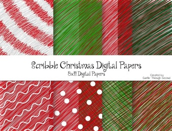 Christmas Scribbles Digital Background Papers