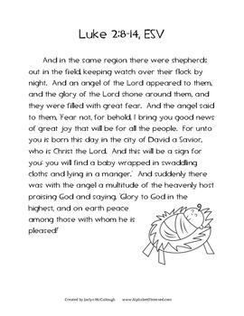 Christmas Scripture- Handwriting, Illustration, & Memorization of Luke 2:8-14