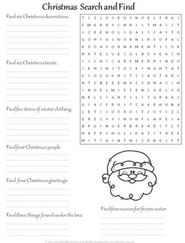 Christmas Holiday Search and Find Activities