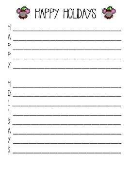 Christmas Season Acrostic Poem Writing Paper
