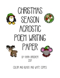Christmas Season Acrostic Poem Writing Paper