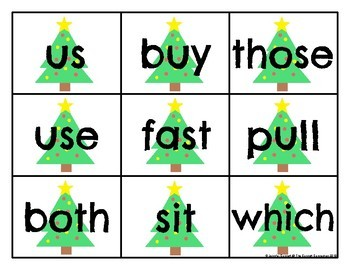 Christmas Second Grade Sight Word Cards