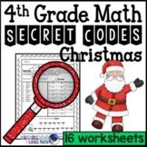 Christmas Secret Code Math Worksheets 4th Grade Common Core