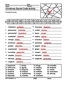 Christmas Secret Code Printable Worksheet