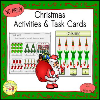 Christmas Count and Clip Holiday Task Cards