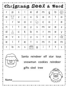 Christmas Seek a Word Find