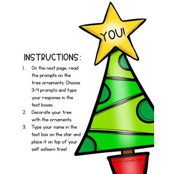 Christmas Self Esteem Digital Activity for Elementary School Counseling