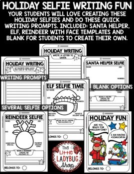 Christmas Selfie Writing Prompts 3rd Grade, 4th Grade