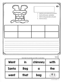 Christmas Sentence Building Word Work