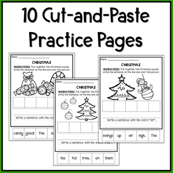 Christmas Sentence Building Puzzles and Worksheets