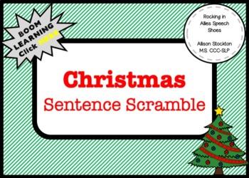 Christmas Sentence Scramble Grammar Syntax Speech (30 Sentences, 2 Worksheets)