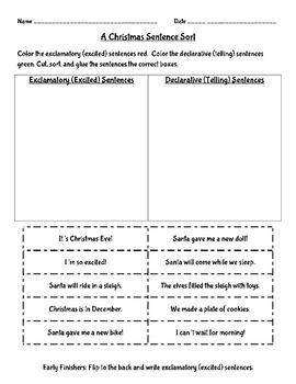 Christmas Sentence Sort Pack - Types of Sentences