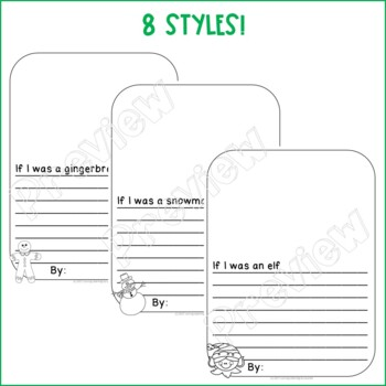 Christmas Sentence Starter Writing Paper for Primary - 8 Styles