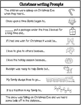 Christmas Sentence Starters Writing Activities