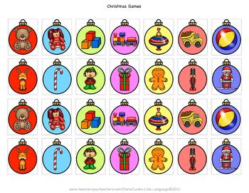 Christmas Language Games- Sentences, Compare/Contrast and Picture Vocabulary