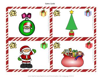 Christmas Speech Language FREE Picture Games for Mixed Groups