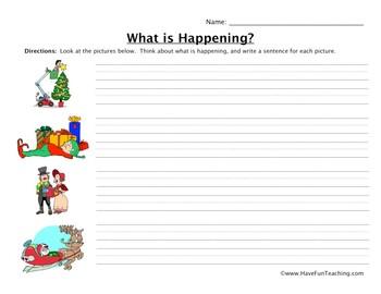 Christmas Sentences Worksheet