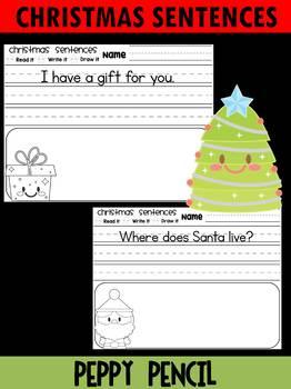 Christmas Sentences for Kindergarten and First Grade  - Peppy Pencil  - FREEBIE