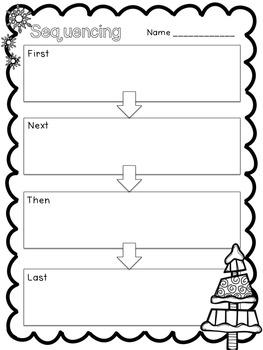 Christmas Sequencing: Flipchart & Worksheet