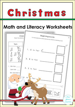 Christmas Math and Literacy Worksheets