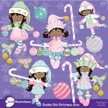 Christmas Shabby Chic, African American Christmas Elves cliparts AMB-567