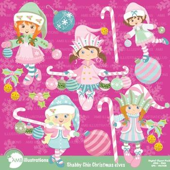 Christmas Shabby Chic, Christmas Elves cliparts AMB-994