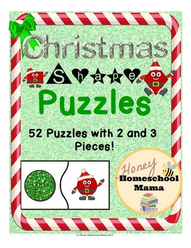 Christmas Shape Puzzles - 52 Puzzles to Practice Shapes and Their Words!