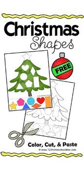 Christmas Shapes (Color, Cut & Paste) for Preschool