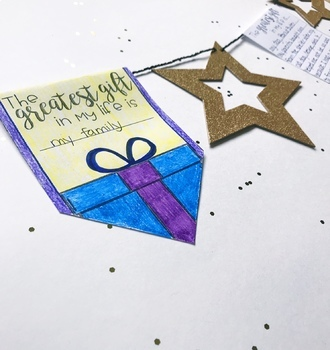 "Christmas ""Sharing my gifts"" Bunting Banner- December No Prep Writing Activity"