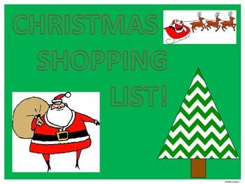 Christmas Math: Money Activity (Christmas Shopping List)