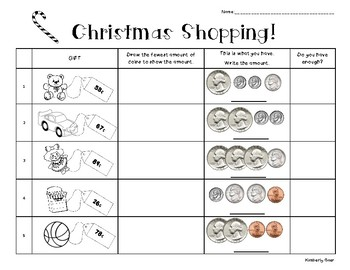 christmas shopping counting money practice worksheet by 4 little baers. Black Bedroom Furniture Sets. Home Design Ideas