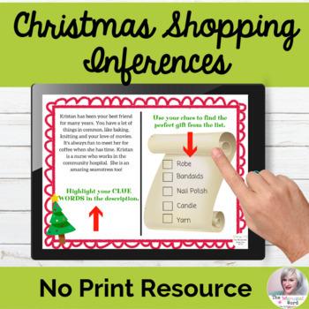 Christmas Shopping Inferences NO PRINT Holiday Digital Teletherapy